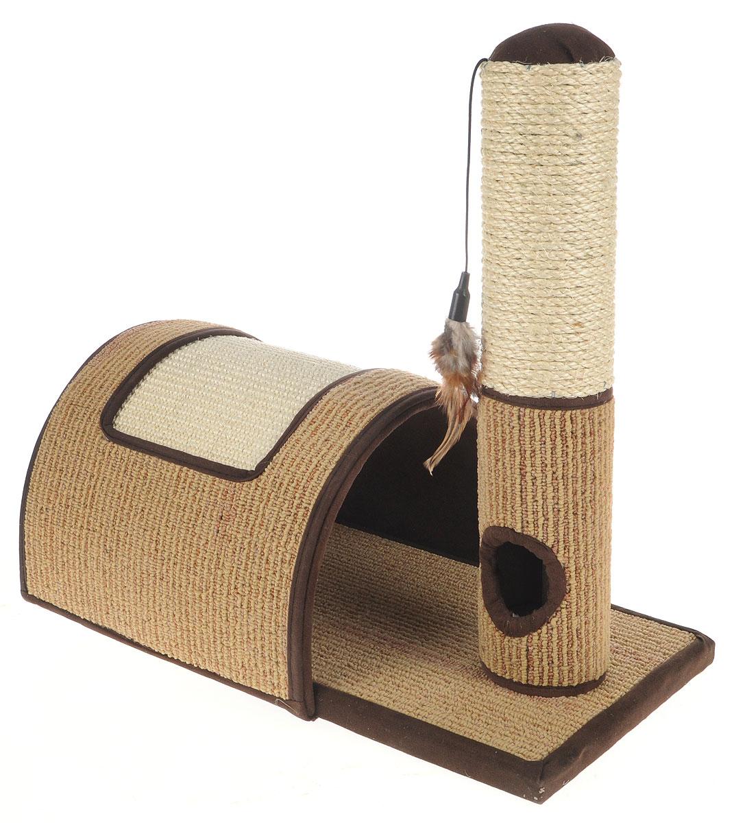 Когтеточка Triol Столбик и арка, с игрушкой, 46 х 25 х 47 см12171996Когтеточка Triol Столбик и арка станет любимым местом для вашего питомца. Игрушки привлекут дополнительное внимание к когтеточке. Изделие выполнено из ДСП, текстиля, ковролина и сизаля. Структура материала когтеточки позволяет кошачьим лапкам проникать внутрь и извлекаться с высоким трением, так что ороговевшие частички когтя остаются внутри волокон. По своей природе сизаль обладает уникальным антистатическим свойством, следовательно, когтеточка не накапливает пыль, что является дополнительным привлекательным качеством, поскольку облегчает процесс уборки.