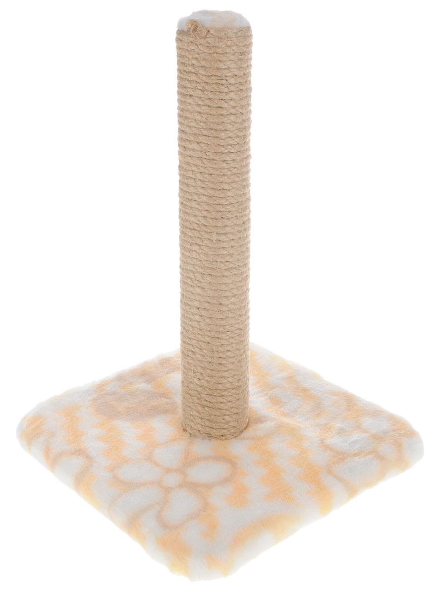 Когтеточка Меридиан, на подставке, цвет: желтый, белый, бежевый, высота 42 см0120710Когтеточка Меридиан поможет сохранить мебель и ковры в доме от когтей вашего любимца, стремящегося удовлетворить свою естественную потребность точить когти. Когтеточка изготовлена из дерева, искусственного меха и джута. Товар продуман в мельчайших деталях и, несомненно, понравится вашей кошке.Всем кошкам необходимо стачивать когти. Когтеточка - один из самых необходимых аксессуаров для кошки. Для приучения к когтеточке можно натереть ее сухой валерьянкой или кошачьей мятой. Когтеточка поможет вашему любимцу стачивать когти и при этом не портить вашу мебель.Размер основания: 30 х 30 см.Высота когтеточки: 42 см.