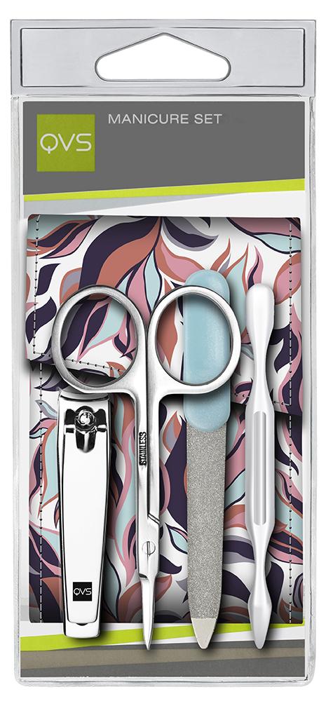QVS Набор для маникюра: пинцет, кусачки для ногтей, пилочка, ножницы для кутикулы (0600000000), цвет: белый, фиолетовый, розовый, голубой, оранжевыйУТ-00000145Набор для маникюра: пинцет, кусачки для ногтей, пилочка, ножницы для кутикулы