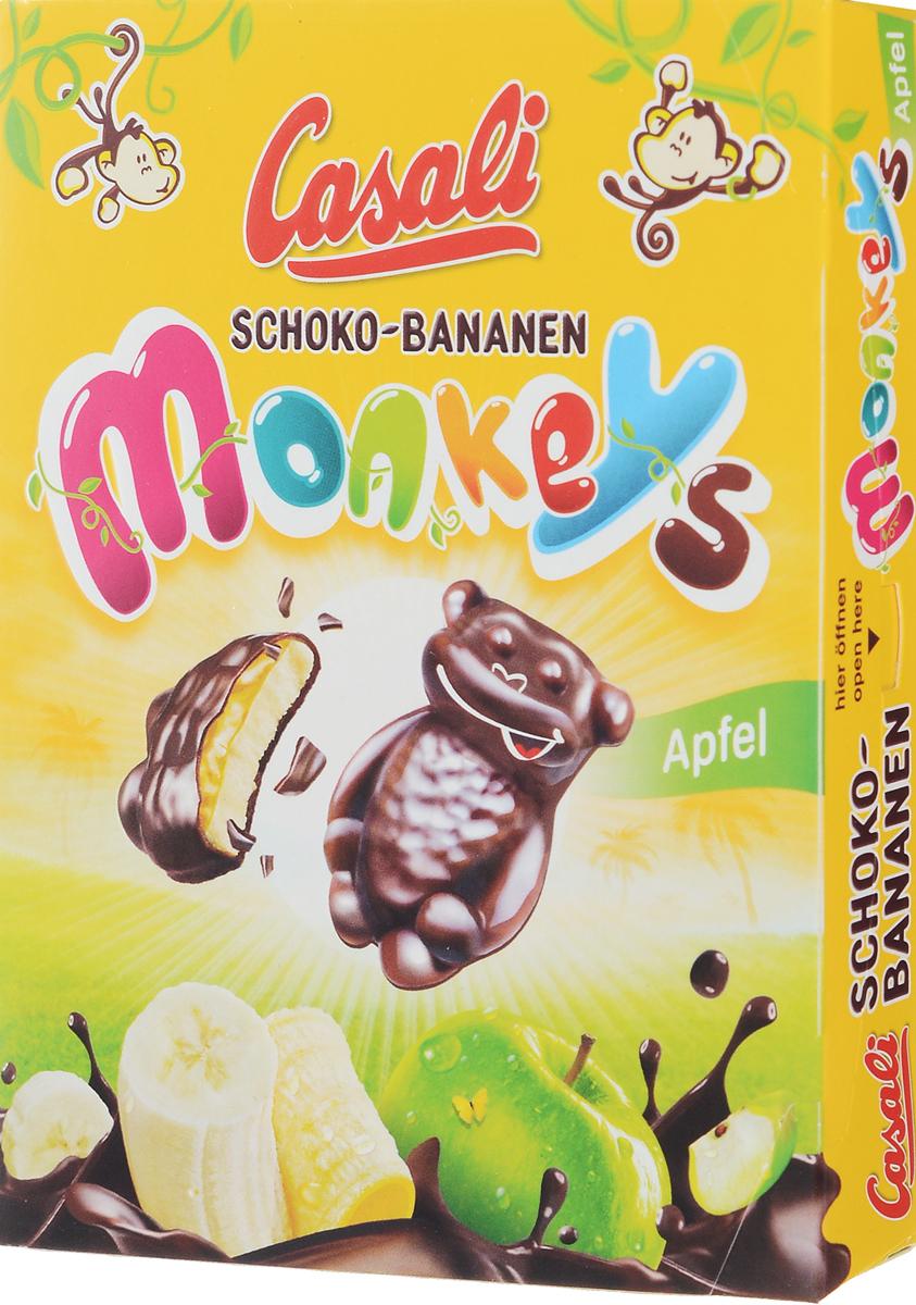 Casali Schoko-Bananen Monkeys суфле банановое в шоколаде с яблочной начинкой, 140 г0120710Суфле Casali Shoko-Bananen - это идеальное соотношение начинки и шоколада; высокое качество шоколада обеспечивается собственным производством, начиная с обжарки какао бобов и заканчивая готовой продукцией; без консервантов и искусственных красителей; легкий шоколадный фруктовый восторг - всего 378 ккал в 100граммах! (меньше, чем в большинстве сладостей).