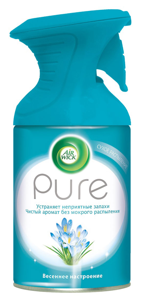 Освежитель воздуха AirWick Pure, весеннее настроение, 250 мл68/5/4Новый освежитель воздуха Air Wick Pure не содержит воды и эффективно устраняет неприятные запахи без мокрого распыления. Используйте освежители воздуха Air Wick Pure в каждой комнате, наполняя ваш дом свежими и приятными ароматами. Инструкция по использованию: держа баллон регулярно, нажать на курок до упора и распылить аэрозоль от себя к центру комнаты. Внимание! Прочитать внимательно этикетку перед использованием. Хранить в недоступном для детей и животных месте. Использовать с осторожностью при повышенной чувствительности к парфюмерным отдушкам. Освежители воздуха не являются заменой надлежащих мер гигиены. Использовать только в хорошо проветриваемых помещениях. Меры предосторожности: баллон находится под давлением. При нагревании возможен разрыв баллона. Предохранять от воздействия прямых солнечных лучей и нагревания выше 50 градусов. Огнеопасно! Не распылять вблизи открытого огня, раскаленных предметов, тепла или включенного электрооборудования. Не курить. Срок годности: 24 месяца.