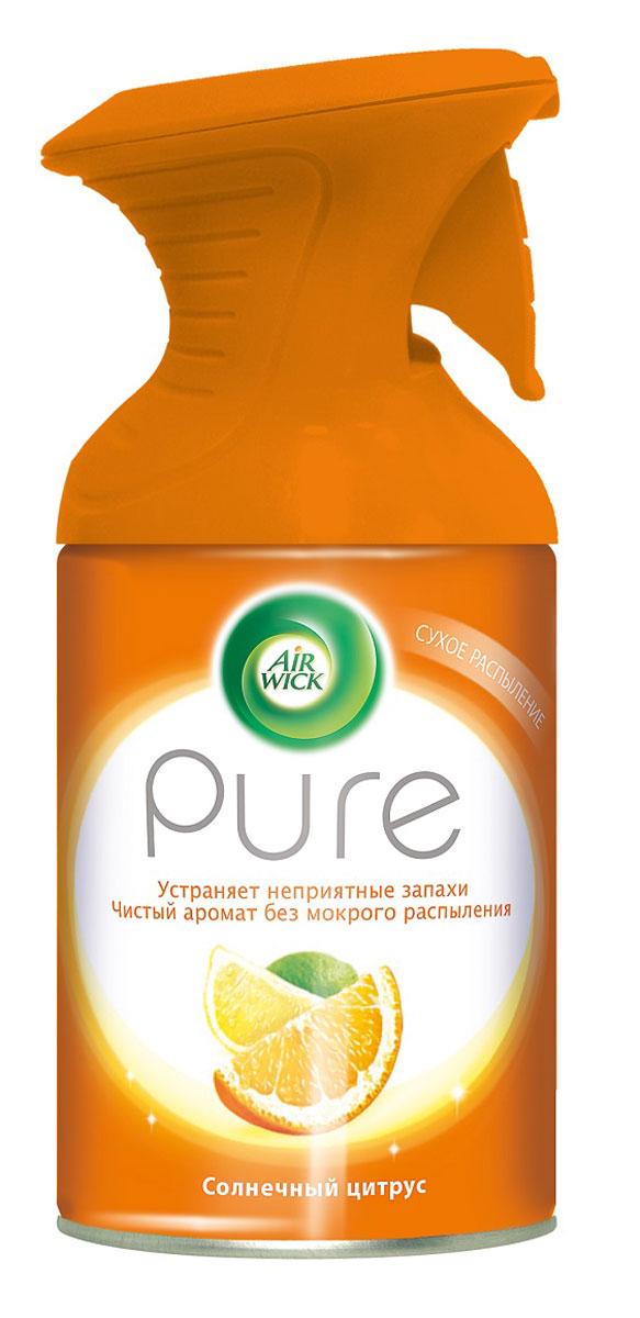 Освежитель воздуха AirWick Pure, солнечный цитрус, 250 мл106-026Новый освежитель воздуха Air Wick Pure не содержит воды и эффективно устраняет неприятные запахи без мокрого распыления. Используйте освежители воздуха Air Wick Pure в каждой комнате, наполняя ваш дом свежими и приятными ароматами. Инструкция по использованию: держа баллон регулярно, нажать на курок до упора и распылить аэрозоль от себя к центру комнаты. Внимание! Прочитать внимательно этикетку перед использованием. Хранить в недоступном для детей и животных месте. Использовать с осторожностью при повышенной чувствительности к парфюмерным отдушкам. Освежители воздуха не являются заменой надлежащих мер гигиены. Использовать только в хорошо проветриваемых помещениях. Меры предосторожности: баллон находится под давлением. При нагревании возможен разрыв баллона. Предохранять от воздействия прямых солнечных лучей и нагревания выше 50 градусов. Огнеопасно! Не распылять вблизи открытого огня, раскаленных предметов, тепла или включенного электрооборудования. Не курить. Срок годности: 24 месяца.