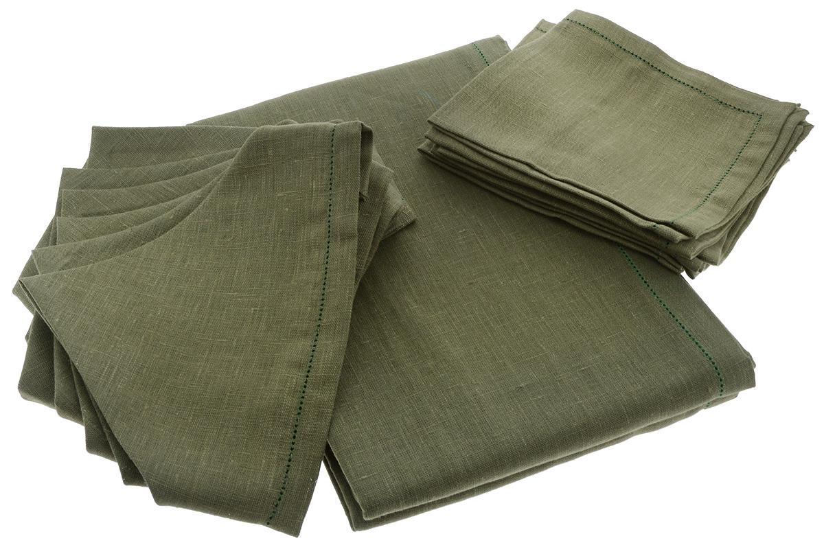 Комплект столовый Гаврилов-Ямский Лен, цвет: темно-зеленый, 7 предметовVT-1520(SR)Элегантный столовый комплект Гаврилов-Ямский Лен, выполненный из 100% льна, состоит из скатерти и шести салфеток.Лён - поистине, уникальный экологически чистый материал. Изделия из льна обладают уникальными потребительскими свойствами. Такой комплект порадует вас невероятно долгим сроком службы.Столовый комплект Гаврилов-Ямский Лен придаст вашему дому уют и тепло. Размер скатерти: 140 х 220 см.Размер салфетки: 42 х 42 см.