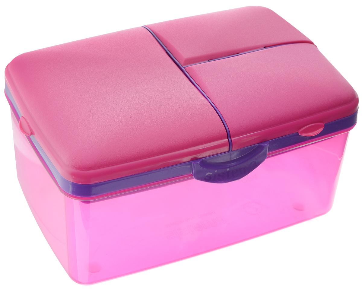 Ланч-бокс Sistema TO-GO, 4 секции, с бутылкой, цвет: малиновый, сиреневый, 2 лVT-1520(SR)Контейнер Sistema TO-GO имеет 4 отделения для хранения и транспортировки бутербродов, порционных салатов, мяса или рыбы, горячих и холодных блюд. Ланч-бокс для детей и взрослых позволяет взять даже сложный обед, из нескольких блюд, в одном компактном контейнере. На крышке имеется силиконовая прокладка, который способствует герметичному закрыванию. Контейнер оснащен фиксирующимися зажимами – клипсами. Удобная маленькая бутылка позволит взять с собой воду или любимый напиток. Ланч-бокс состоит из большого, среднего и двух маленьких отделений.Размеры большого отделения: 21 х 14 х 9 см.Размеры среднего отделения: 12 х 9,5 х 3,5 см.Размеры одного маленького отделения: 9,5 х 6 х 3,5 см.Объем бутылки: 250 мл.
