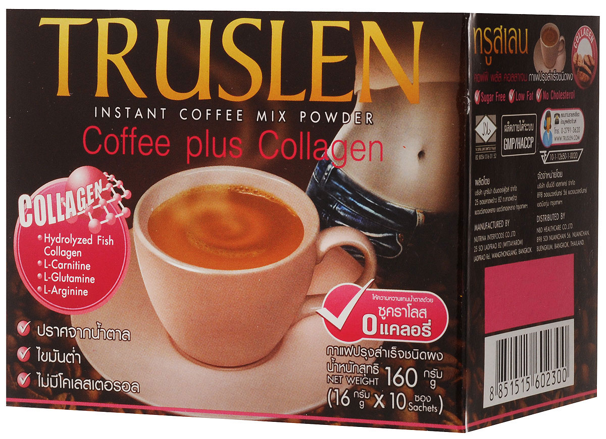 Тruslen Coffee Plus Collagen кофейный напиток в пакетиках, 10 шт2300Полезный, быстрорастворимый напиток Тruslen Coffee Plus Collagen, позволяющий контролировать массу тела. Не содержит сахара, консервантов, стабилизаторов, красителей и эмульгаторов. Содержащийся в составе коллаген способствует восполнению потерь белка, что укрепляет волосы, ногти и кожи. Содержит комплекс аминокислот, оказывающих общеукрепляющее и тонизирующее действие. Позволяет контролировать массу тела за счет содержания Л-карнитина.Уважаемые клиенты! Обращаем ваше внимание на то, что упаковка может иметь несколько видов дизайна. Поставка осуществляется в зависимости от наличия на складе.