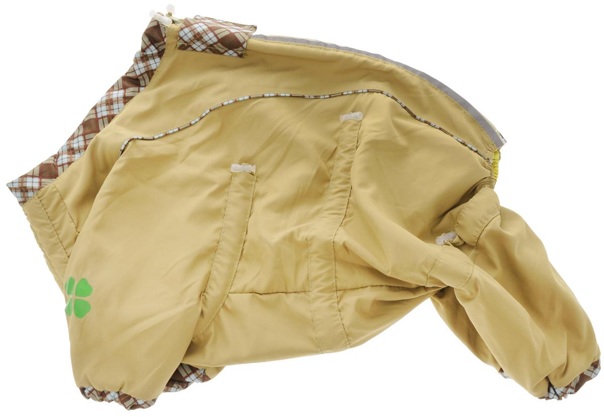 Комбинезон для собак Dogmoda Doggs, для девочки, цвет: горчичный. Размер M0120710Комбинезон для собак Dogmoda Doggs отлично подойдет для прогулок в прохладную погоду.Комбинезон изготовлен из полиэстера, защищающего от ветра и осадков, а на подкладке используется вискоза, которая обеспечивает отличный воздухообмен. Комбинезон застегивается на молнию и липучку, благодаря чему его легко надевать и снимать. Молния снабжена светоотражающими элементами. Низ рукавов и брючин оснащен внутренними резинками, которые мягко обхватывают лапки, не позволяя просачиваться холодному воздуху. На вороте, пояснице и лапках комбинезон затягивается на шнурок-кулиску с затяжкой. Модель снабжена непромокаемым карманом для размещения записки с информацией о вашем питомце, на случай если он потеряется.Благодаря такому комбинезону простуда не грозит вашему питомцу.