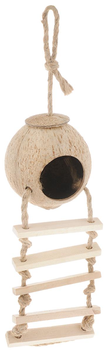 Домик для птиц Triol, с лестницей, длина 45 см0120710Домик Triol выполнен из натурального кокоса и оснащен деревянной лесенкой и веревкой из джута. Изделие предназначено для укрытия или послужит кормушкой для птиц. Петелька позволит повесить его в любое удобное вам место. Такой домик украсит ландшафт вашего приусадебного участка, придаст ему оригинальность и самобытность или станет отличным дополнением к клетке. Длина домика (с учетом лестницы и петельки): 45 см.Размер домика: 10,5 см. Диаметр отверстия домика: 6 см. Ширина лестница: 11 см. Длина лестницы: 22 см.