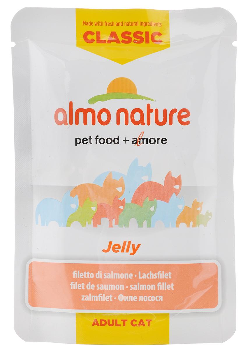 Консервы Almo Nature Jelly для кошек, филе лосося в желе, 55 г0120710Almo Nature Jelly - восхитительно вкусный функциональный влажный корм, содержащий желатин, который является натуральным средством для вывода шерсти из организма кошки, помогающий защитить пищеварительный тракт от раздражения. Кусочки филе лосося в желе приготовлены из самых свежих отборных ингредиентов уровня Human Grade (качество как для людей), являющихся натуральным естественным источником витаминов и микроэлементов. Пищевая ценность: белок 8%, клетчатка 1%, масла и жиры 0,7%, зола 2%, влажность 88,2%. Энергетическая ценность: 343,8 ккал/кг.Товар сертифицирован.