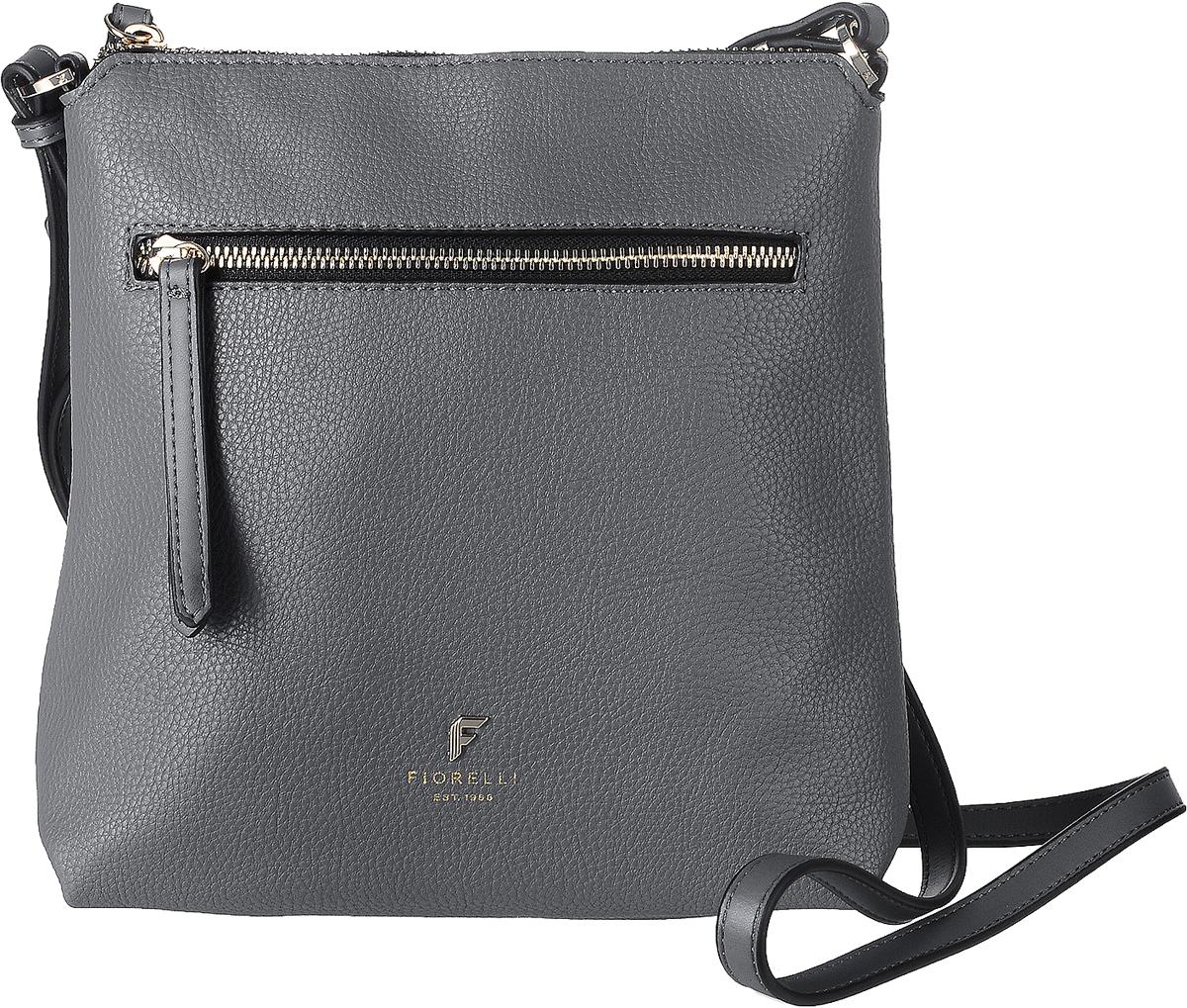 Сумка женская Fiorelli, цвет: серый. 8509 FH71069с-2Стильная сумка Fiorelli выполнена из высококачественной искусственной кожи зернистой текстуры. Изделие оформлено металлической пластинкой с логотипом бренда. На лицевой стороне расположен удобный вшитый карман на молнии. На тыльной стороне расположен открытый накладной карман. Сумка оснащена плечевым ремнем, длина которого регулируется с помощью пряжки. Изделие закрывается на застежку-молнию. Внутри расположено главное отделение, которое содержит один открытый накладной карман и фирменную нашивку.