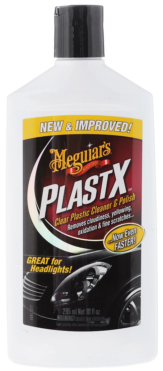 Средство для очистки и полировки Meguiars PlastX, для прозрачных пластмассовых поверхностей, 295 млRC-100BWCУникальное средство Meguiars PlastX быстро, безопасно и эффективно очищает, полирует и восстанавливает прозрачность пластмассовых поверхностей. Устраняет помутнение, риски, потертости. Возвращает фарам прозрачность и первоначальный внешний вид. Не содержит вредных растворителей.Товар сертифицирован.