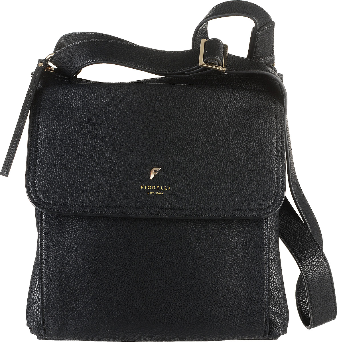 Сумка женская Fiorelli, цвет: черный. 8585 FHEQW-M710DB-1A1Стильная сумка Fiorelli выполнена из высококачественной искусственной кожи зернистой текстуры. Изделие оформлено фирменной надписью и металлической пластинкой с логотипом бренда. На лицевой стороне расположен удобный накладной объемный карман, который закрывается клапаном на магнитную кнопку. Сумка оснащена широким плечевым ремнем, длина которого регулируется с помощью пряжки. Изделие закрывается на застежку-молнию. Внутри расположено главное отделение, которое содержит два открытых накладных кармана для телефона и мелочей и один вшитый карман на молнии.