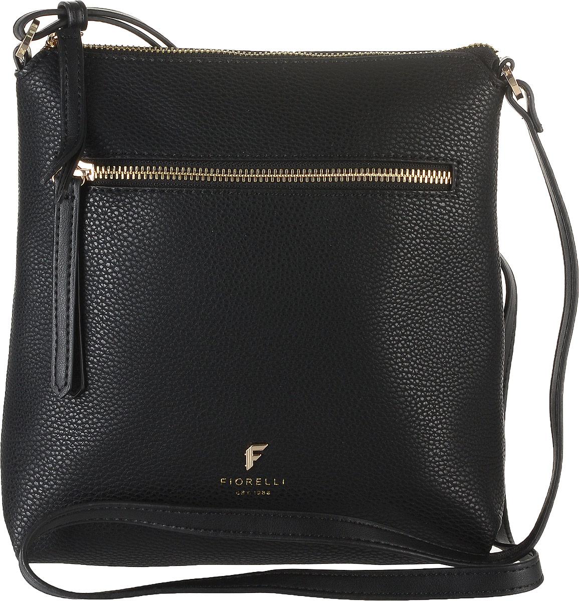 Сумка женская Fiorelli, цвет: черный. 8509 FHEQW-M710DB-1A1Стильная сумка Fiorelli выполнена из высококачественной искусственной кожи зернистой текстуры. Изделие оформлено металлической пластинкой с логотипом бренда. На лицевой стороне расположен удобный вшитый карман на молнии. На тыльной стороне расположен открытый накладной карман. Сумка оснащена плечевым ремнем, длина которого регулируется с помощью пряжки. Изделие закрывается на застежку-молнию. Внутри расположено главное отделение, которое содержит один открытый накладной карман и фирменную нашивку.