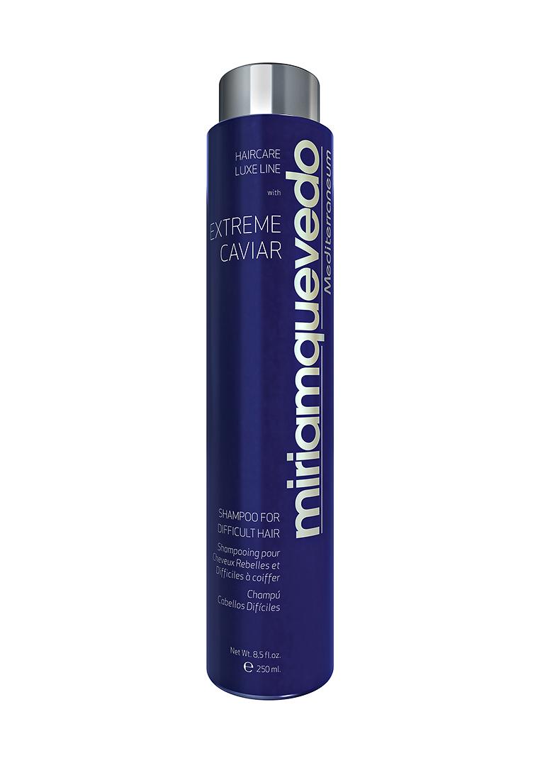 Miriam Quevedo Шампунь для непослушных волос с экстрактом черной икры (Extreme Caviar Shampoo for Difficult Hair) 250 млFS-00610Данный шампунь создан специально для ухода за сухими, непослушными и вьющимися волосами. Входящие в состав протеины кератина, проникая вглубь структуры непослушного волоса, не только дают выпрямляющий эффект, но и регулируют увлажнение и интенсивно питают изнутри, а также сокращают нежелательный объем, не затрудняют расчесывание. Кокосовое и оливковое масла, содержащиеся в шампуне, обеспечат регенерацию и сохранение гидро-липидной пленки, обволакивающей структуру волоса, тем самым обеспечат усиленную защиту. Экстракт черной икры и альфа-гидрокислоты сделают ваши волосы шелковистыми, ослепительно блестящими и эластичными.