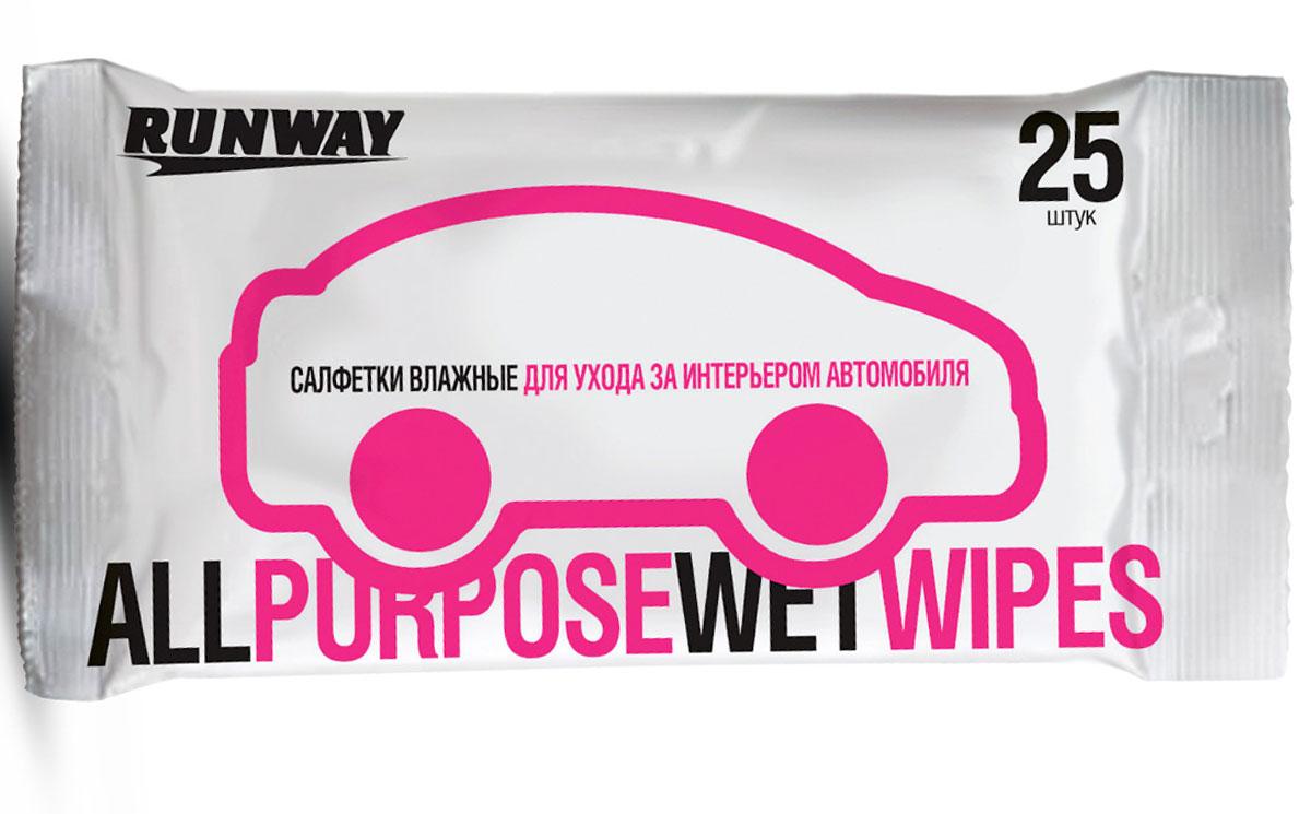 Салфетки влажные Runway, для ухода за интерьером авто, 25 штAMC-01Для очистки и защиты пластиковых деталей интерьера автомобиля от грязи, пыли и других загрязнений. Оказывают дезинфицирующее и антистатическое действие. Не оставляют разводов. Могут использоваться в быту.