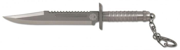 Брелок-стальной нож Ножемир, общая длина 15 см. E-205E-205Нож-брелок - стильный необычный аксессуар. Нож изготовлен из металла. Клинок ножа обоюдоострый.