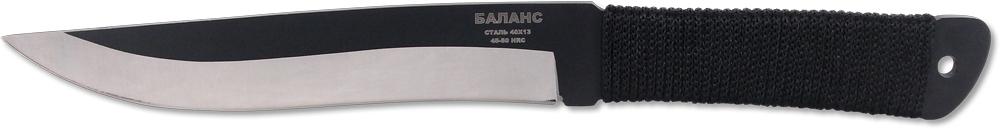 Нож метательный Ножемир Баланс, общая длина 25,5 см, цвет: черно-стальной. M-112-3M-112-3Нож метательный M-112-3 Баланс относится к разряду тяжёлых метательных ножей, которые рекомендованы для использования профессиональными спортсменами. Нож выполнен из цельного куска стали толщиной 4 миллиметра. Такая конструкция обеспечивает ножу высокую прочность и максимальную надёжность при метании на большие расстояния. Рукоять ножа обмотана прочным синтетическим шнуром. Такая опция позволяет использовать нож в туристических походах или экстремальных экспедициях. В комплекте с ножом поставляется удобный нейлоновый чехол для ношения на поясе.Длина клинка, мм - 145Толщина клинка, мм - 4Общая длина, мм - 255Материал рукояти - верёвкаНожны - кордураСталь - 40х13Твёрдость стали - HRC 45 - 50
