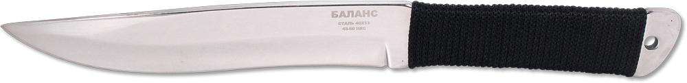 Нож метательный Ножемир Баланс, нержавеющая сталь, с ножнами, общая длина 25,5 см. M-112CS/49HSFSZНож метательный Ножемир Баланс — это идеальный вариант, который подходит для развлекательного метания по желаемой цели. Качественная сталь клинка порадует всех любителей метания, при этом толщина лезвия (4 мм) позволит не переживать по поводу долговечности. Благодаря гладкому типу режущей кромки данный нож может стать, при надобности, универсальным в обиходе. Весьма удобная рукоять, изготовленная из прочной веревки, позволит комфортно чувствовать нож в ладони. Реализуется этот нож в превосходно выполненных ножнах из практичного материала — кордура.Общая длина ножа: 25,5 см.