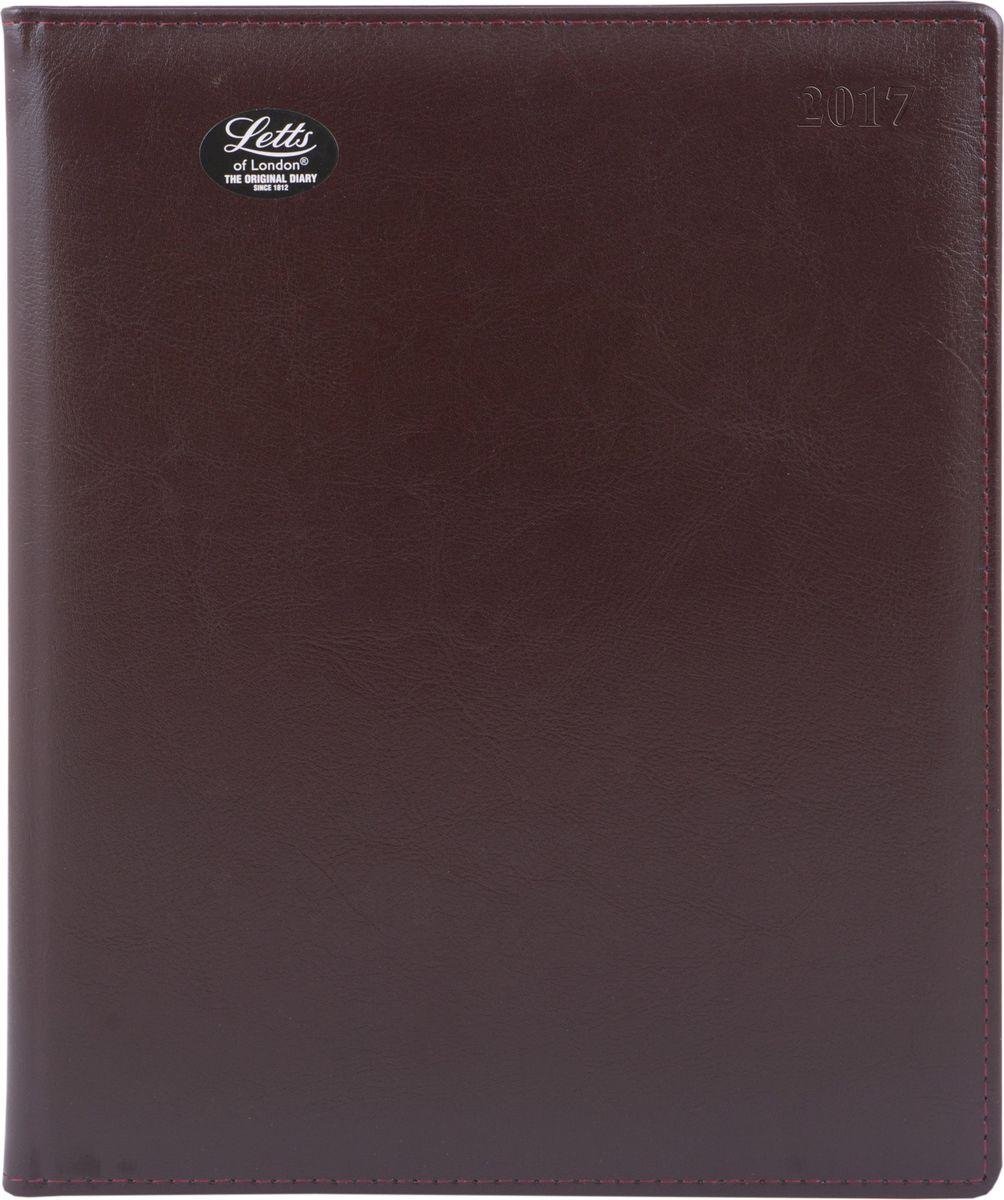 Letts Ежедневник Global Deluxe 2017 датированный 64 листа цвет бордовый формат А472523WDУтонченный ежедневник Letts Global Deluxe 2017 - идеально подойдёт настоящим ценителям английской классики.Ежедневник выполнен в твердом переплете из нежнейшей натуральной кожи бордового цвета. Позолоченный срез страниц, шелковая закладка-разделитель и перфорированные уголки подчеркнут респектабельный стиль владельца.Каждая страница ежедневника имеет почасовую и календарную нумерацию. На каждый час отведено по 2 строчки, а в верхней части страницы расположены пустые столбики для самых разнообразных заметок. На первых и последних страницах ежедневника представлен информационный блок. Он включает национальные праздники, календарь с 2016 по 2021 год, график отпусков, международные торговые выставки, часовые пояса, международные коды. Также в блок информации входят меры длины веса и других величин, размеры одежды, телефонная книга и цветная карта мира.Ежедневники Letts Global Deluxe 2017 - это высочайшее качество, стиль, динамичность и оригинальность.