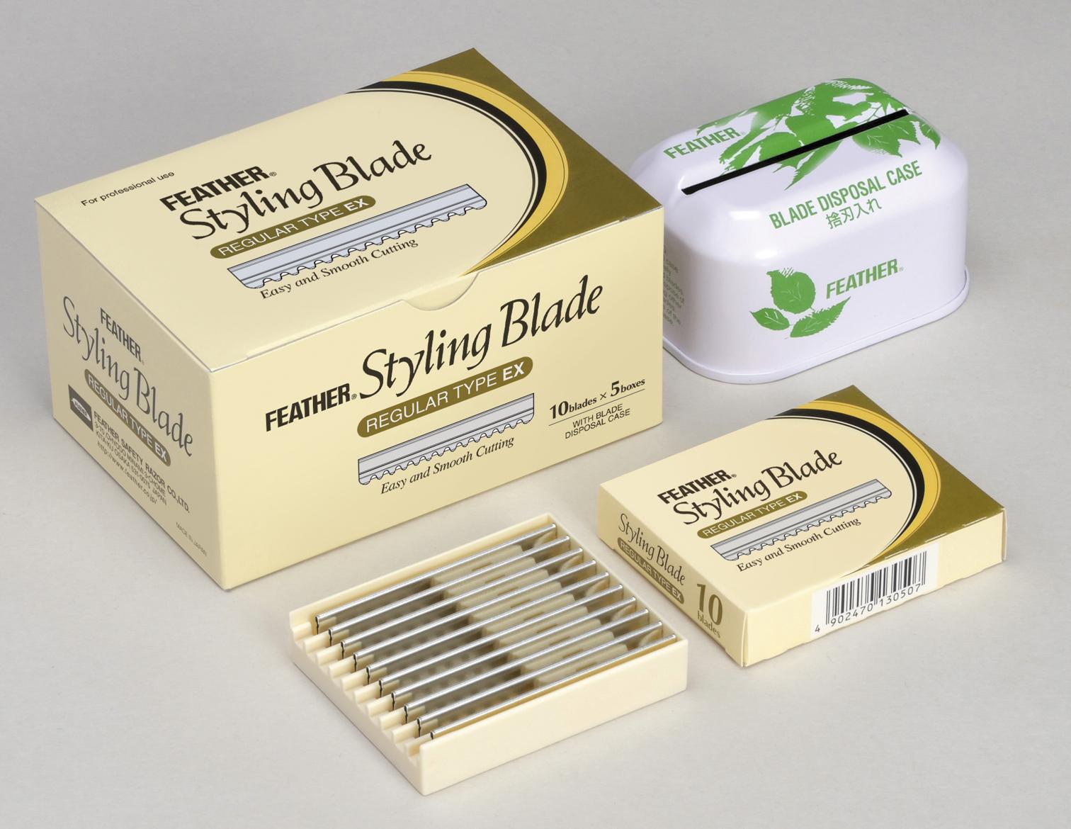 Feather набор лезвий для стрижки 5 диспенсеров и бокс для отработки лезвий28032022Специальные лезвия дляфилировочных бритв для стрижки волос. Благодаря тонкому наклонному срезу, который дает бритва, концы волос отлично падают по форме стрижки, создается красивая текстура.Используются при работе с бритвамидля стрижки волос серииStyling Razor.