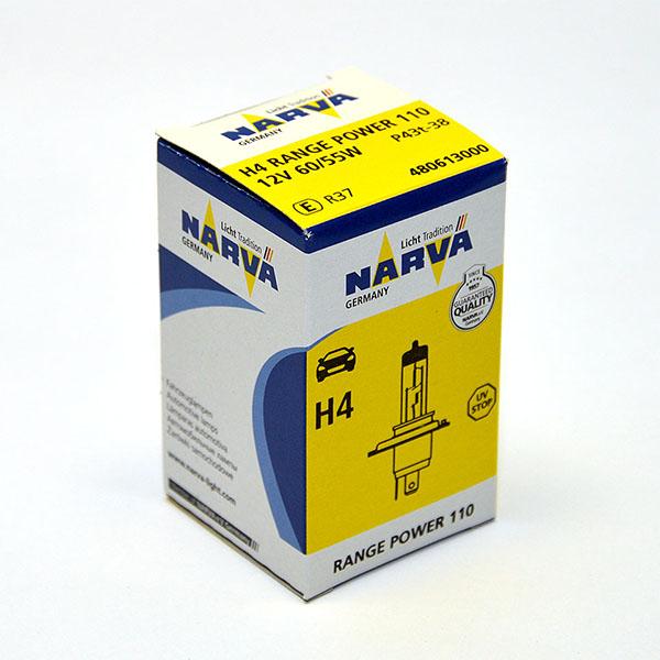 Лампа автомобильная галогенная Narva RangePower +110, цоколь H4, 60 Вт10503Новые лампы Narva Range Power 110 улучшенная видимость до 110%. Благодаря мощному световому лучу водители смогут видеть дальше. За счет особой конструкции горелки мощность световогопотока возрастает, что повышает безопасность и эффективность лампы.