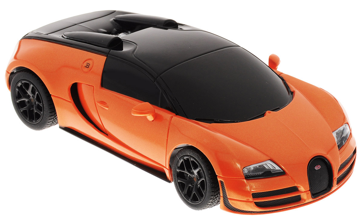 """Радиоуправляемая модель Rastar """"Bugatti Veyron 16.4 Grand Sport Vitesse"""" привлечет внимание не только ребенка, но и взрослого. Модель является точной уменьшенной копией настоящего автомобиля в масштабе 1/24. Машина при помощи пульта управления движется вперед, дает задний ход, поворачивает налево и направо. Авто обладает высокой стабильностью движения, что позволяет полностью контролировать его процесс, управляя уверенно и без суеты. Такая машина станет отличным подарком не только автолюбителю, но и человеку, ценящему оригинальность и изысканность, а качество исполнения представит такой подарок в самом лучшем свете. Подарите вашему ребенку возможность почувствовать себя настоящим водителем. Радиоуправляемые игрушки способствуют развитию координации движений, моторики и ловкости. Машина работает от 3 батареек типа АА (не входят в комплект). Пульт управления работает от 2 батареек типа АА (не входят в комплект). Пульт управления работает на частоте 40 MHz."""