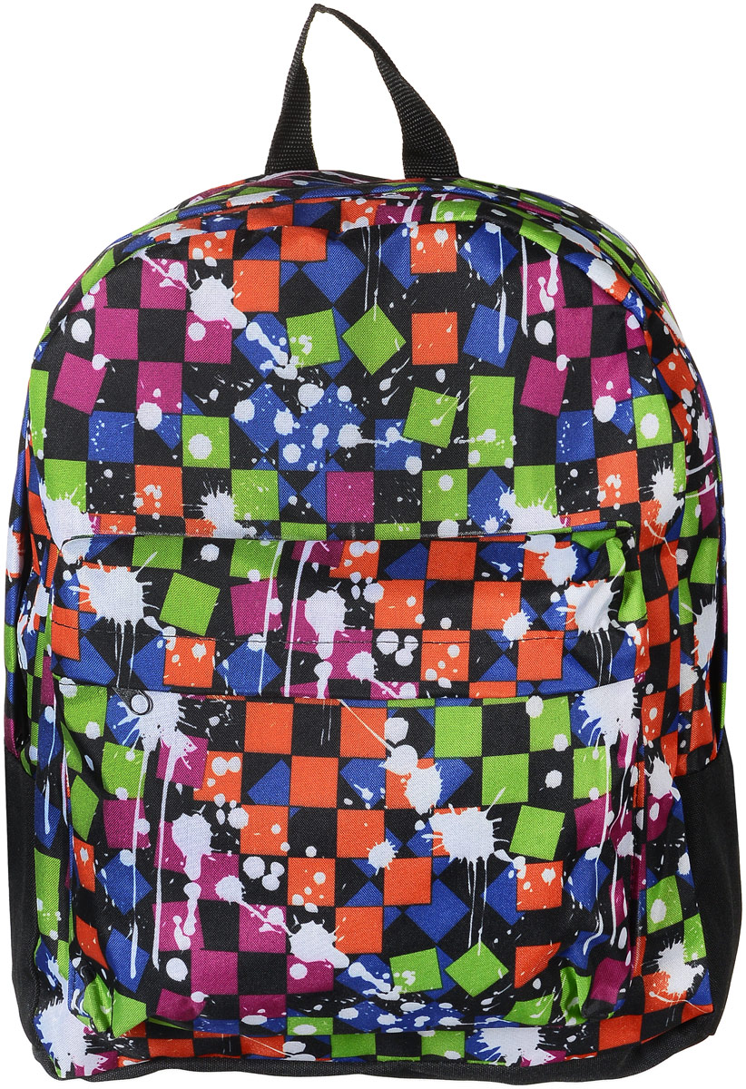 Рюкзак Аntan Кляксы, цвет: черный, мультиколор. 6-7/1S76245Стильный рюкзак Аntan Кляксы выполнен из текстиля и оформлен оригинальным принтом. Рюкзак имеет одно основное отделение, которое закрывается на застежку-молнию. Снаружи, на передней стенке находится накладной объемный карман на застежке-молнии.Рюкзак оснащен широкими лямками регулируемой длины и ручкой для переноски в руке.