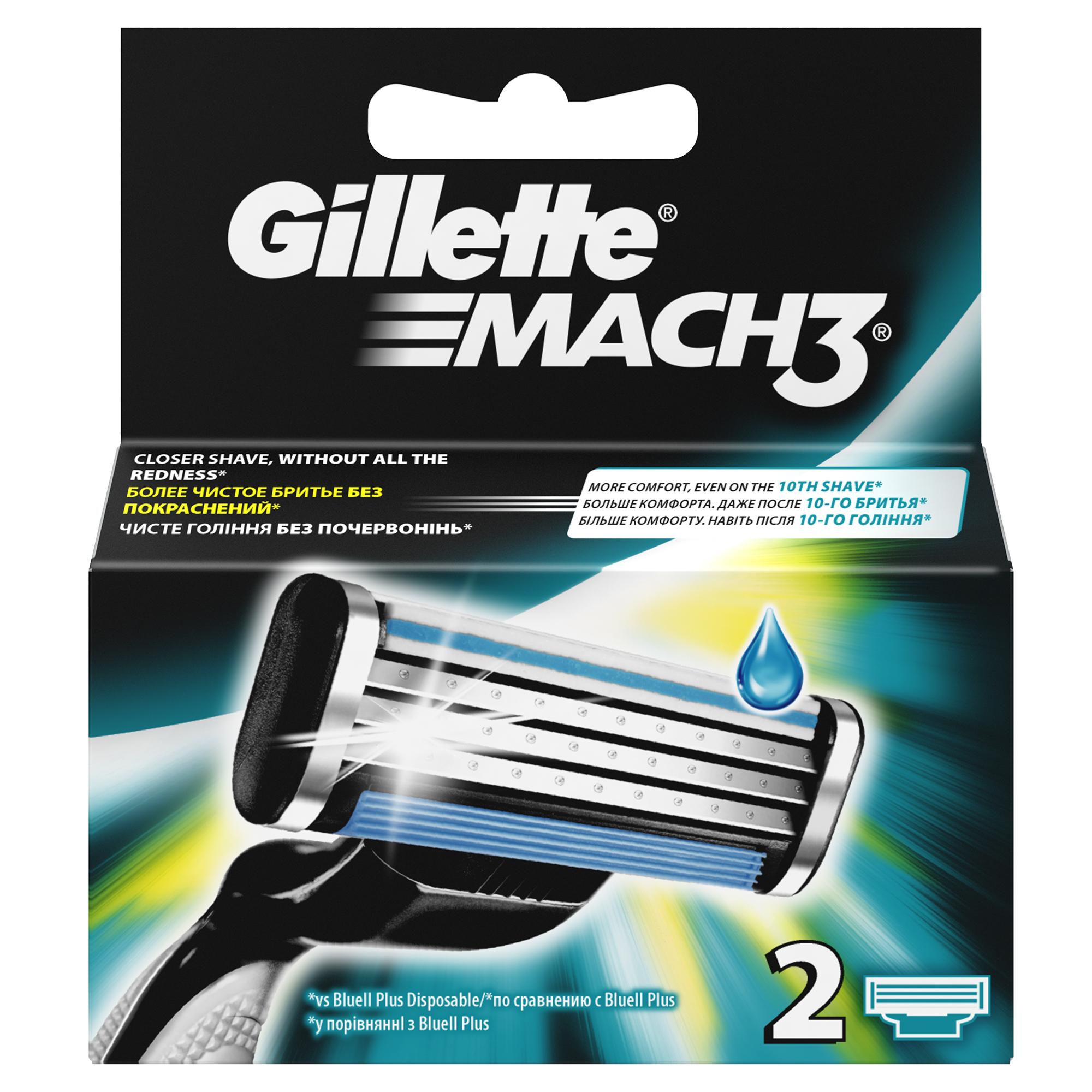 Сменные кассеты для бритья Gillette Mach 3, 2 шт.1301210Сменные кассеты для мужской бритвы Gillette Mach3 обеспечивают гладкое бритье без покраснения кожи, а ощущения даже при 10-м их использовании лучше, чем при бритье новой одноразовой бритвой.* В комплект каждой сменной кассеты входят 3 лезвия DuraComfort для долговременного комфорта. Гелевая полоска скользит по коже, защищая ее от покраснения, а усовершенствованный микрогребень Skin Guard помогает натянуть кожу и подготовить волоски к срезанию. Эти сменные кассеты для бритвы Mach3 подходят к любой бритве Mach3. *По сравнению с Gillette BlueIIПреимущества продукта:Даже 10-ое бритье Mach3 комфортнее 1-го одноразовой бритвой (по сравнению с Gillette Blue II Plus)Более гладкое бритье без раздражения (по сравнению с одноразовой бритвой Gillette Blue II Plus)3 лезвия DuraComfort для долговременного комфортаГелевая полоска скользит по коже, защищая ее от покрасненияУсовершенствованный микрогребень Skin Guard помогает натянуть кожу и подготовить волоски к срезаниюПодходит к любым бритвам серии Mach3