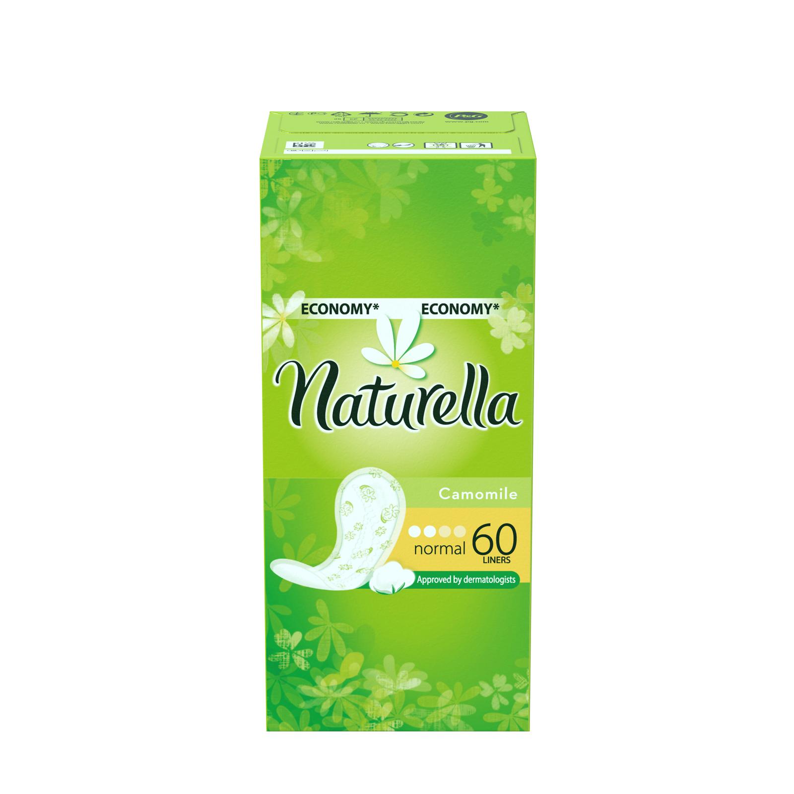 Naturella Женские гигиенические прокладки на каждый день Camomile Normal Trio 60шт28032022Сохрани свежесть в течение всего дня с ежедневными прокладками Naturella Normal. Эти воздухопроницаемые ежедневные прокладки толщиной 0,9 мм с мягким, как лепесток, верхним слоем и легким ароматом, вдохновленным самой природой, обеспечивают свежесть и комфорт каждый день.Одобренные дерматологическим институтом proDERM ежедневные прокладки Naturella каждый день обеспечивают заботу о женской гигиене, которой можно доверять.Одобренные дерматологическим институтом proDERM ежедневные прокладки Naturella каждый день обеспечивают заботу о женской гигиене, которой можно доверять.Ежедневные прокладки Naturella отлично защищают нижнее белье при выделениях из влагалища, нерегулярном цикле и выделениях перед менструацией. Во время менструации обязательно воспользуйтесь прокладками Naturella для усиленной защиты. Супермягкий верхний слой обеспечивает дополнительный комфорт в интимной зонеВоздухопроницаемые и тонкие как лепесток (0,9 мм)Дышащий верхний слой и легкий аромат ромашки для ежедневной свежестиОдобрено дерматологами всемирно известного немецкого института proDERM и гарантируют женщинам надежную защиту, которой можно доверять