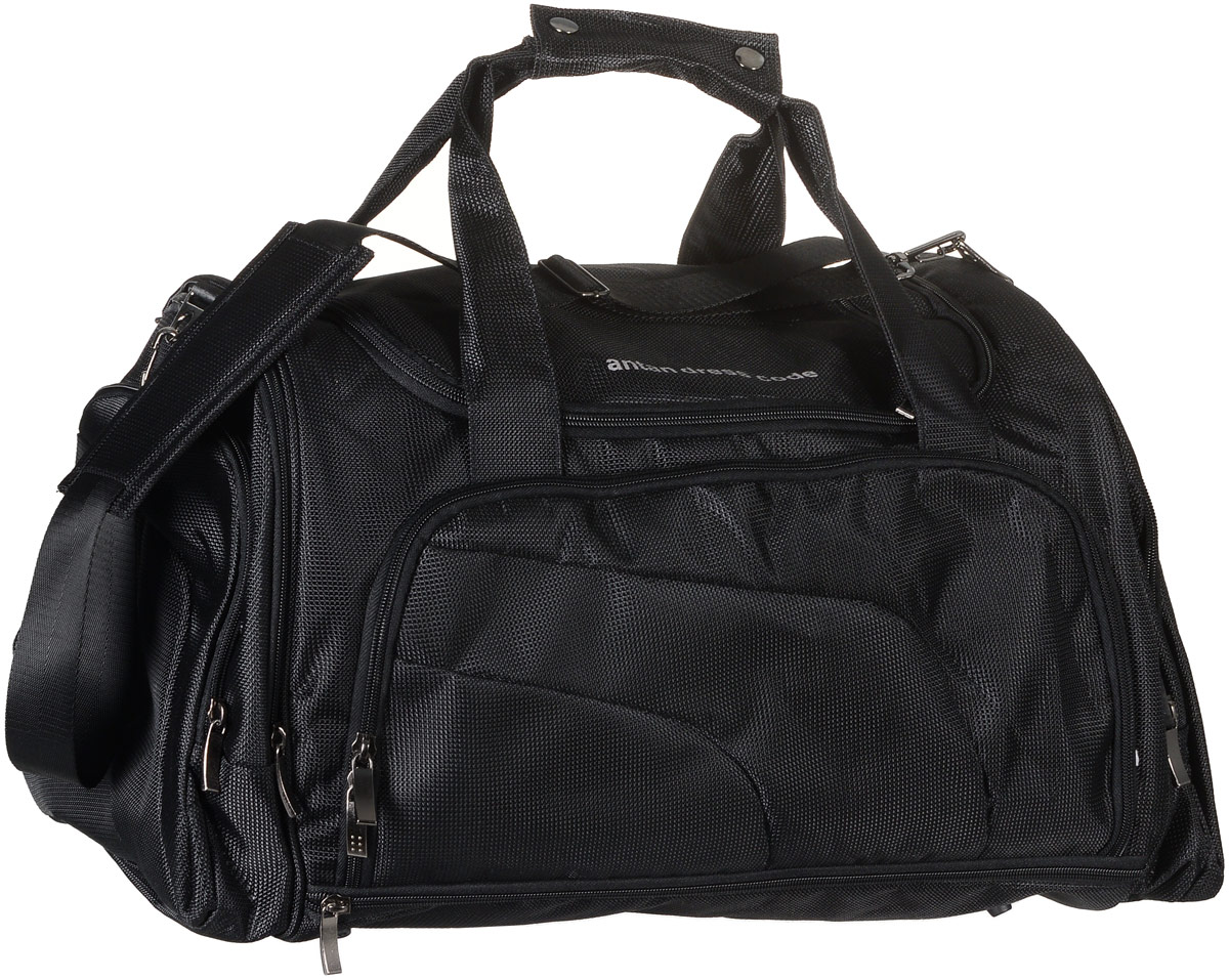 Сумка дорожная Аntan, цвет: черный. 2-160AIRWHEEL M3-162.8Вместительная дорожная сумка Аntan выполнена из полиэстера. Изделие имеет одно отделение, которое закрывается на застежку-молнию. Снаружи, на передней стенке расположен накладной карман на застежке-молнии, внутри которого предусмотрен накладной открытый карман, по бокам - четыре накладных кармана на застежках-молниях, сверху - прорезной карман на застежке-молнии. Основание изделия оснащено большим карманом на застежке-молнии. Сумка дополнена двумя удобными ручками. В комплект входит съемный регулируемый плечевой ремень. Основание изделия защищено от повреждений пластиковыми ножками.