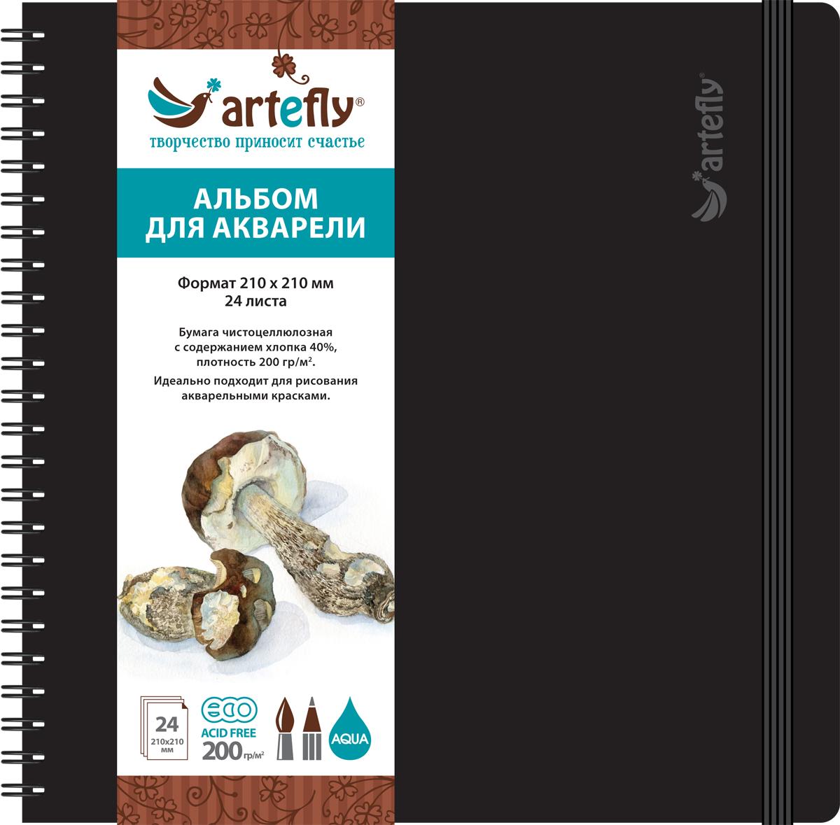 Artefly Альбом для акварели 24 листа 21 х 21 см0703415Альбом идеально подходит для рисования в нем акварельными красками. Удобная эластичная застежка защитит Вашу записную книжку. Переплет на спирали делает альбом еще более удобным и позволяет с легкостью переворачивать страницы.