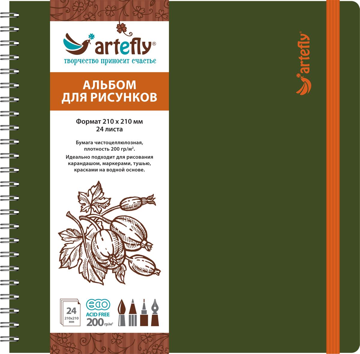 Artefly Альбом для рисования 24 листа цвет зеленый AFNB-225372523WDАльбом идеально подходит для рисования в нем карандашом, маркерами, тушью, красками на водной основе. Удобная эластичная застежка защитит Вашу записную книжку. Переплет на спирали делает альбом еще более удобным и позволяет с легкостью переворачивать страницы.