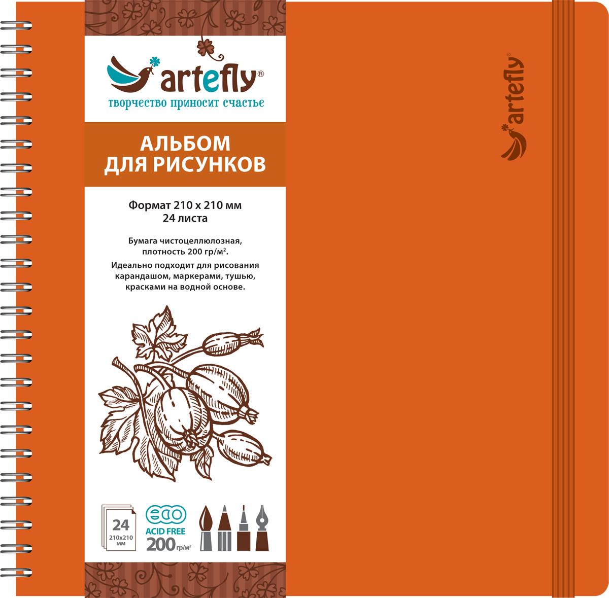 Artefly Альбом для рисования 24 листа цвет оранжевый AFNB-225572523WDАльбом идеально подходит для рисования в нем карандашом, маркерами, тушью, красками на водной основе. Удобная эластичная застежка защитит Вашу записную книжку. Переплет на спирали делает альбом еще более удобным и позволяет с легкостью переворачивать страницы.