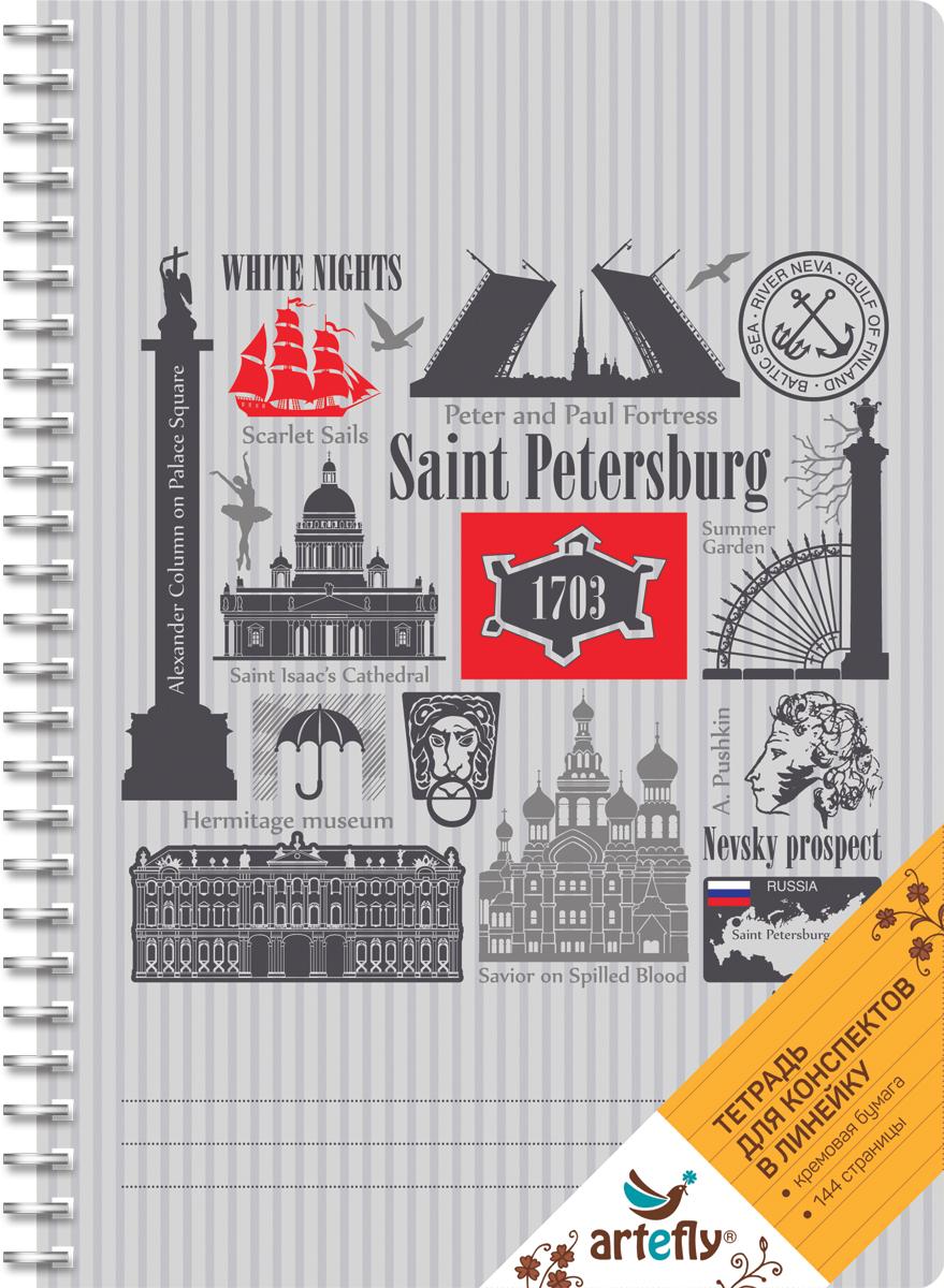 Artefly Тетрадь Санкт-Петербург 72 листа в линейку цвет серый72523WDТетрадь в линейку для ведения записей. Красивая и яркая обложка раскрасит твои студенческие будни, такую тетрадь удобно использовать для конспектов. Приятная бумага кремового цвета не оставит тебя равнодушным.