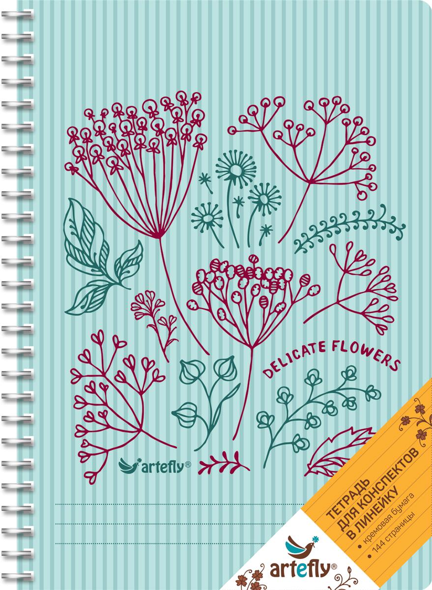 Artefly Тетрадь Delicate Flowers 72 листа в линейку72523WDТетрадь Artefly Delicate Flowers предназначена для ведения записей. Ее удобно использовать для конспектов.Красивая и яркая обложка с закругленными углами раскрасит студенческие будни. Внутренний блок представлен 72 листами и скреплен спиралью. Приятная бумага кремового цвета в линейку никого не оставит равнодушным.