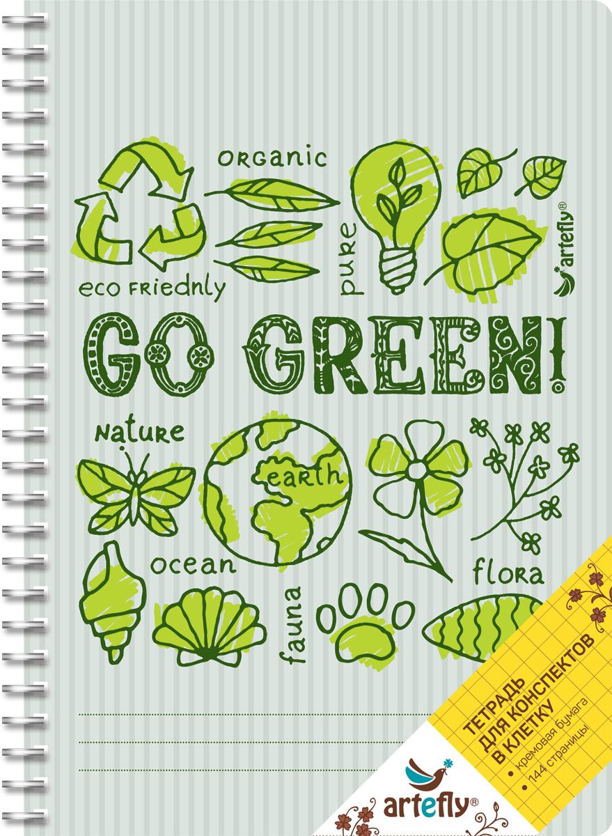 Artefly Тетрадь Go Green 72 листа в клетку72523WDТетрадь в клетку для ведения записей. Красивая и яркая обложка раскрасит твои студенческие будни, такую тетрадь удобно использовать для конспектов. Приятная бумага кремового цвета не оставит тебя равнодушным.