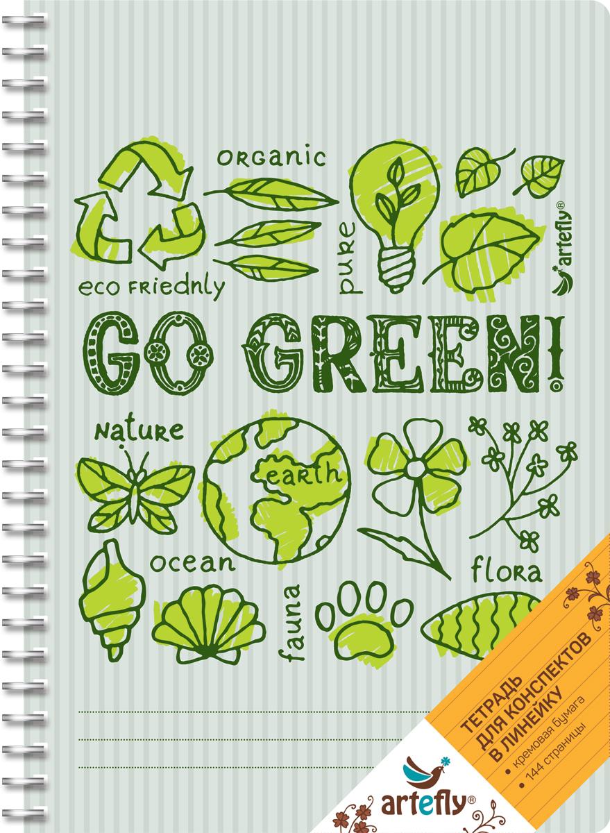 Тетрадь Artefly Go Green предназначена для ведения записей. Ее удобно использовать для конспектов.Красивая и яркая обложка с закругленными углами раскрасит студенческие будни. Внутренний блок представлен 72 листами и скреплен спиралью. Приятная бумага кремового цвета в линейку никого не оставит равнодушным.