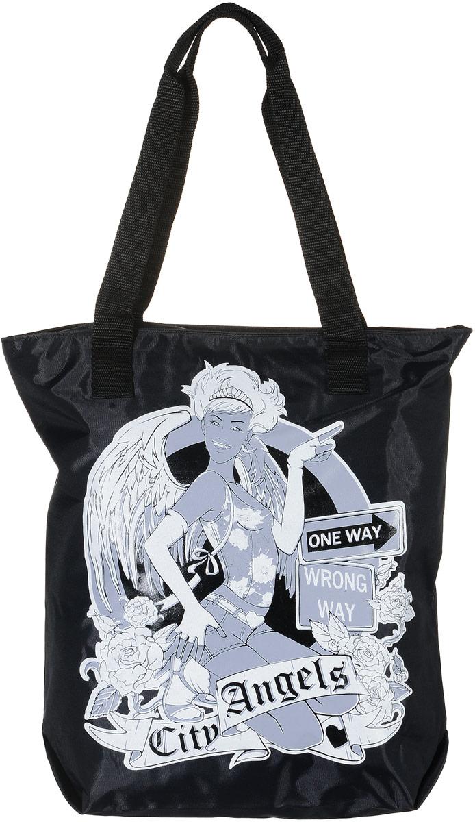 Сумка женская Аntan Citi Angels, цвет: черный. 1-58EQW-M710DB-1A1Модная женская сумка Аntan Citi Angels, выполненная из текстиля, оформлена на лицевой стороне оригинальным принтом. Изделие имеет одно отделение, которое закрывается на застежку-молнию. Внутри сумки находится нашивной карман на застежке-молнии. Сумка оснащена двумя удобными ручками.
