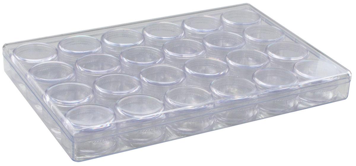 Контейнер для мелочей Hobby & Pro, с 24 баночками, 24,1 х 16,3 х 2,7 см1004900000360Контейнер для мелочей Hobby & Pro изготовлен из прозрачного пластика, что позволяет видеть содержимое. Подходит для хранения швейных принадлежностей, рыболовных снастей, мелких деталей и других бытовых мелочей. Внутри содержатся 24 маленькие баночки с крышками, которые позволяют хранить и очень мелкие детали и принадлежности, например, стразы, бисер или пайетки. Такой контейнер поможет держать вещи в порядке.