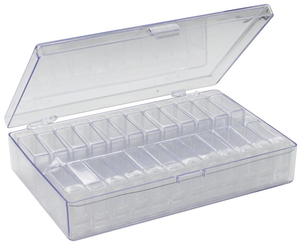 Контейнер для мелочей Hobby & Pro, с 24 клик-боксами, 16,3 х 10,5 х 3,7 см12723Контейнер для мелочей Hobby & Pro изготовлен из прозрачного пластика, что позволяет видеть содержимое. Подходит для хранения швейных принадлежностей, рыболовных снастей, мелких деталей и других бытовых мелочей. Крышка плотно закрывается. Такой контейнер поможет держать вещи в порядке.