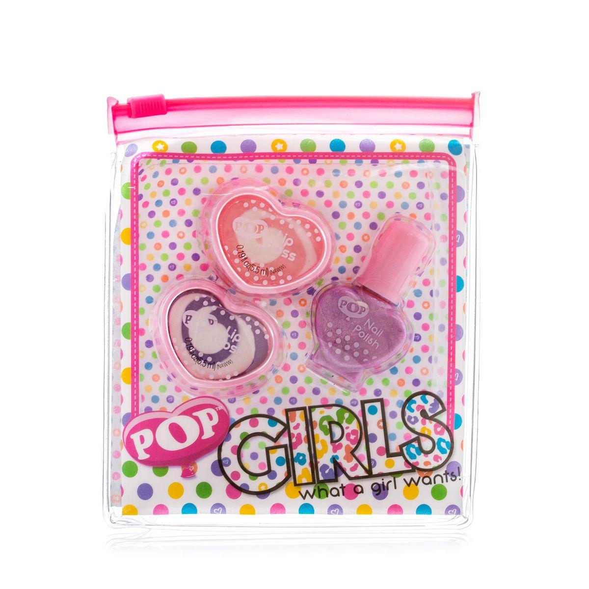 Markwins Игровой набор детской декоративной косметики для губ и ногтей POP 36050511301210Состав набора: блески для губ в баночках 2 шт., лак на водной основе для ногтей 1 шт.
