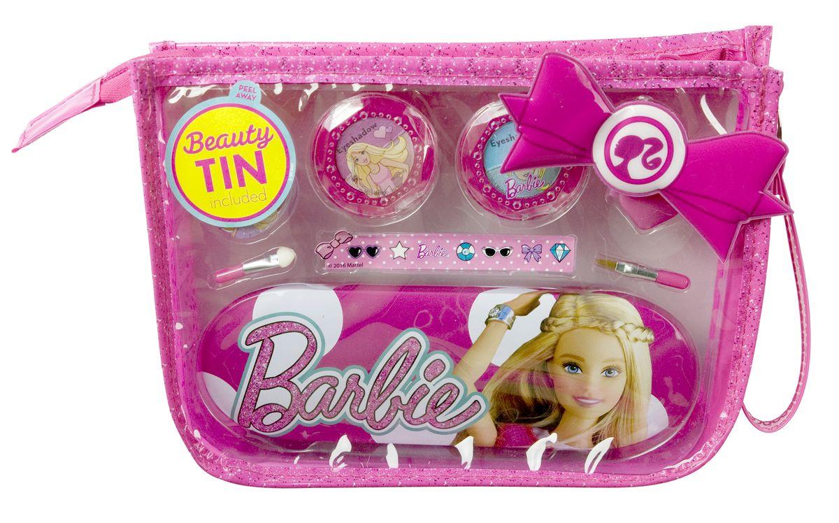 Markwins Игровой набор детской декоративной косметики Barbie в сумочке 9600451SC-FM20104Состав набора: двойные тени для век 2 шт., блеск для губ в баночке 1 шт., аппликатор для нанесения теней 1 шт., кисть для нанесения блеска для губ 1 шт., заколочка для волос 1 шт., пенал 1 шт., сумочка 1 шт., наклейки.