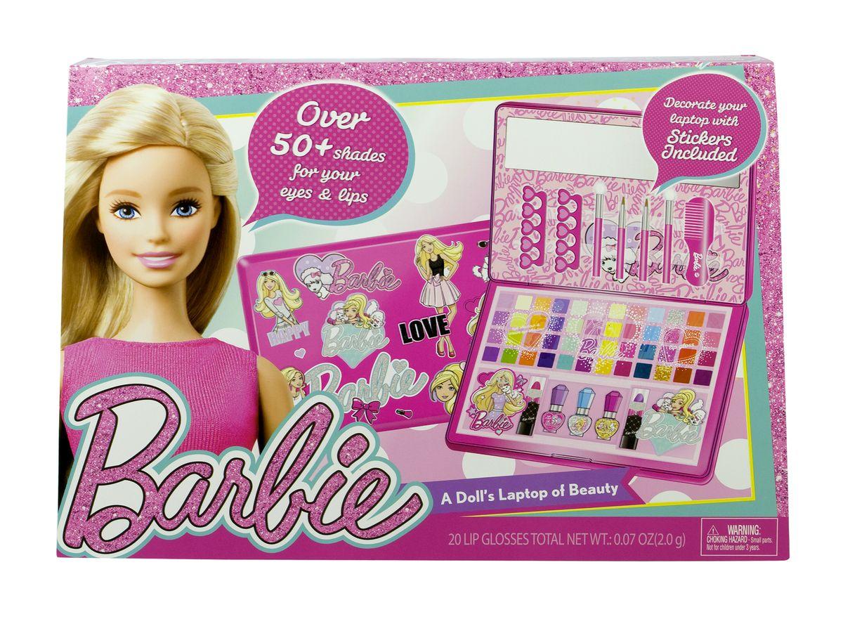 Markwins Игровой набор детской декоративной косметики Barbie в кейсеWS 7064Состав набора: кейс для хранения косметики в форме ноутбука 1 шт., палитра теней для век из 32 оттенков, палитра блесков для губ из 16 оттенков, губные помады в футлярах 2 шт., лаки для ногтей 3 шт., разделители для пальцев 2 шт., аппликаторы для нанесения теней 2 шт., кисти для нанесения блесков для губ 2 шт., расчёска 1 шт., зеркальце 1 шт., наклейки с изображением Barbie 2 шт., наклейка для украшения ноутбука 1 шт.