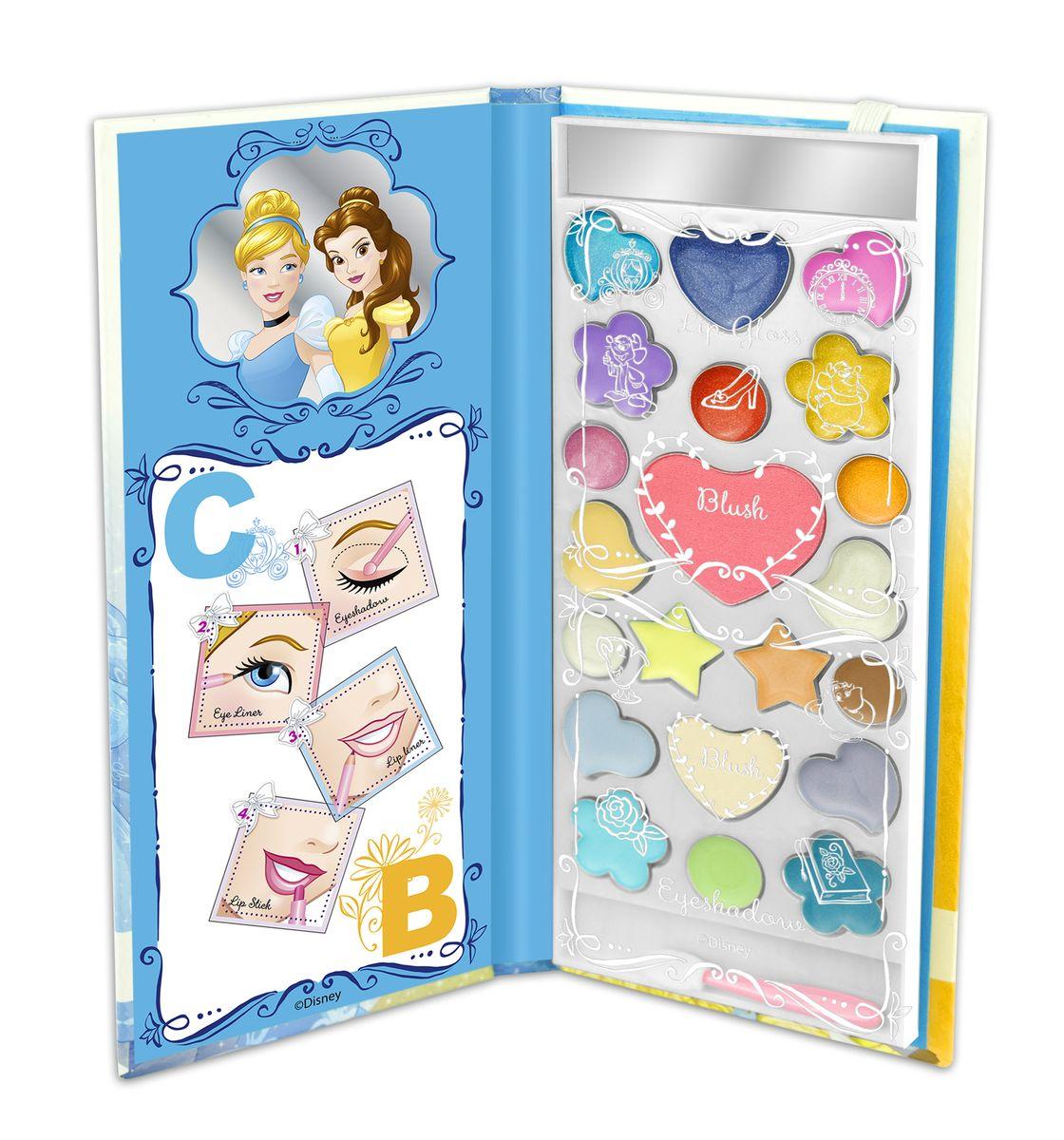 Markwins Игровой набор детской декоративной косметики Princess CB в книжке1092018Состав набора: палитра блесков для губ из 10 оттенков, румяна 2 оттенка, палитра кремовых теней для век из 9 оттенков, аппликатор 1 шт., зеркальце 1 шт.