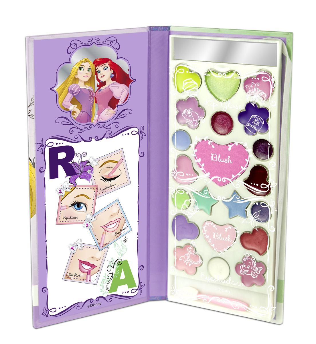Markwins Игровой набор детской декоративной косметики Princess AR в книжке26102025Состав набора: палитра блесков для губ из 10 оттенков, румяна 2 оттенка, палитра кремовых теней для век из 9 оттенков, аппликатор 1 шт., зеркальце 1 шт.