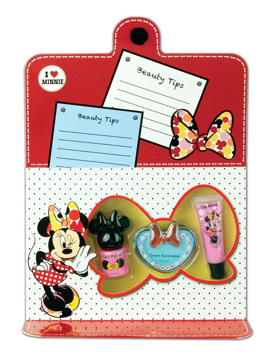 Markwins Игровой набор детской декоративной косметики для лица и ногтей Minnieперфорационные unisexСостав набора: блеск для губ в тубе 1 шт., кремовые тени для век 1 шт., лак на водной основе для ногтей 1 шт.