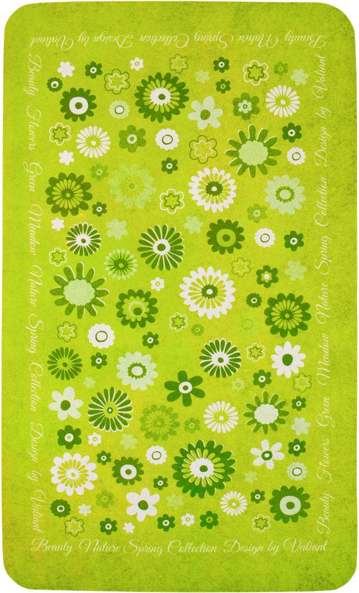 Коврик для ванной комнаты Valiant Nature Spring, 75 х 45 см69325Коврик для ванной комнаты Valiant Nature Spring выполнен из мягкого, приятного на ощупь текстиля и оформлен ярким принтом. Специальная SBR-основа коврика обладает повышенными теплоизоляционными свойствами, износостойкостью и предотвращает скольжение по полу. Материал не впитывает влагу и быстро высыхает. Такой коврик впишется в любой интерьер ванной комнаты.