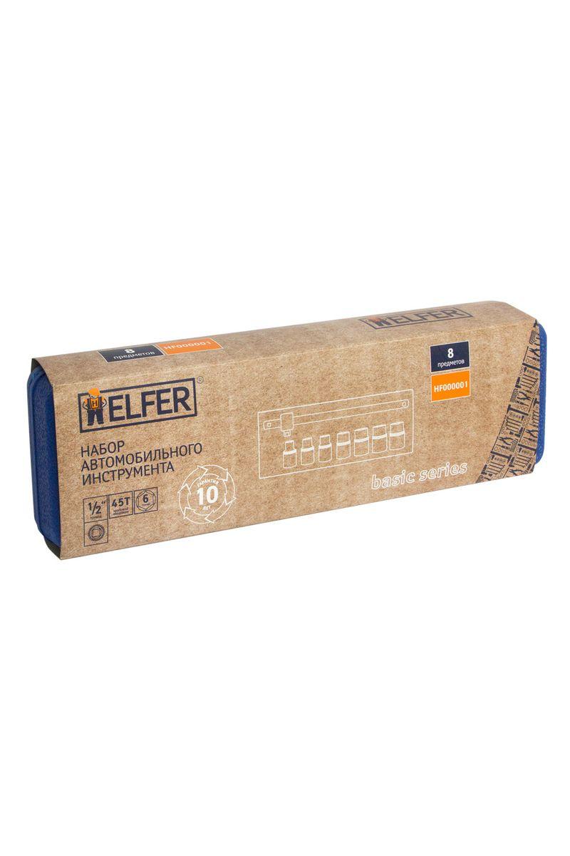 Набор Helfer, 8 предметов, 1/280621В набор Helfer входят: вороток Т-образный (125 мм) головки торцевые6 граней (7 шт.): 8,10,12,13,14,17,19 mm