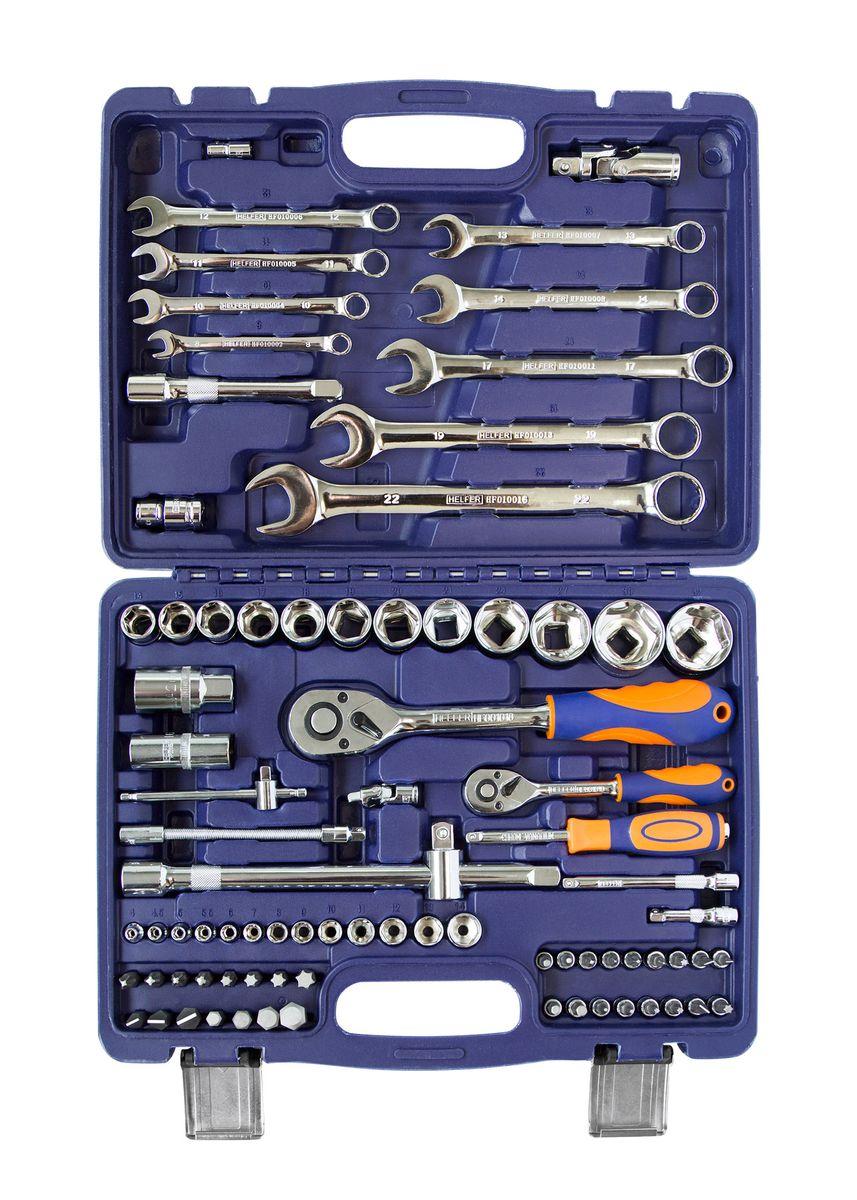 Набор Helfer, 82 предмета, 1/2, 1/4HF000010В набор Helfer входят: головки торцевые 6 граней (13 шт.): 4, 4.5, 5, 5.5, 6,7,8,9,10,11,12,13,14 mm удлинитель (2 шт.) 2, 4удлинитель гибкий 5 (130мм) кардан шарнирный рукоятка трещоточная с быстрым сбросом (45Т) вороток Т-образный (110мм) рукоятка - удлинитель держатель вставок (25мм)торцевые головки с битами - вставками (17 шт): Torx (6 шт.)T8,T10,T15,T20,T25,T30, Hex (4 шт.)H3,H4,H5,H6, шлицевые (3 шт.): SL4, SL5.5,SL7, крестовые (4 шт.): Ph1,Ph2, Pz1,Pz2.головки торцевые 6 граней (12 шт.): 14,15,16,17,18,19,20,21,24,27,30,32 mm головки торцевые глубокие свечные (2 шт.): 16,21 mm головки торцевые 6 граней (12 шт.) удлинитель (2 шт.): 5, 10 рукоятка трещоточная с быстрым сбросом (45Т): адаптер под удлинитель держатель вставок 5/16 биты-вставки 5/16x 30 mm (15 шт.): Torx (4 шт.)T40,T45,T50,T55, Hex (4 шт.) H8,H10,H12,H14, шлицевые (3 шт.): SL8, SL10,SL12, крестовые (4 шт.): Ph3,Ph4, Pz3,Pz4.ключи гаечные комбинированные (9 шт.): 8,10,11,12,13,14,17,19,22