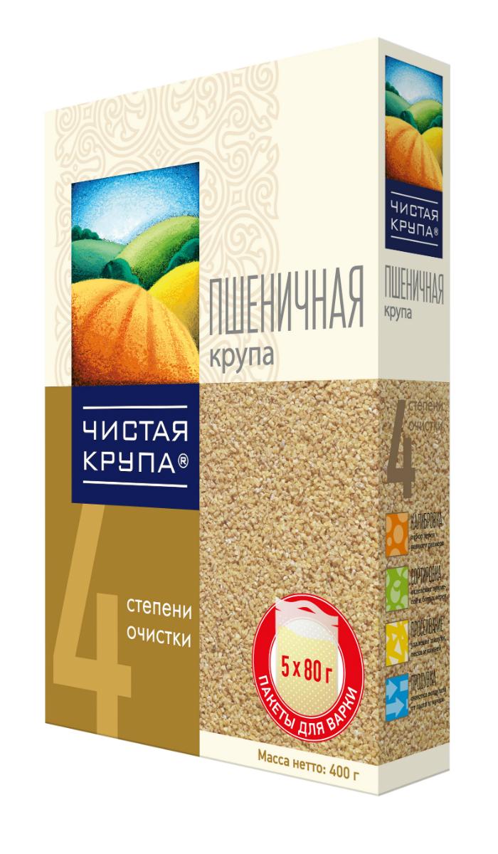 Чистая Крупа пшеничная крупа в пакетиках для варки, 5 шт по 80 г
