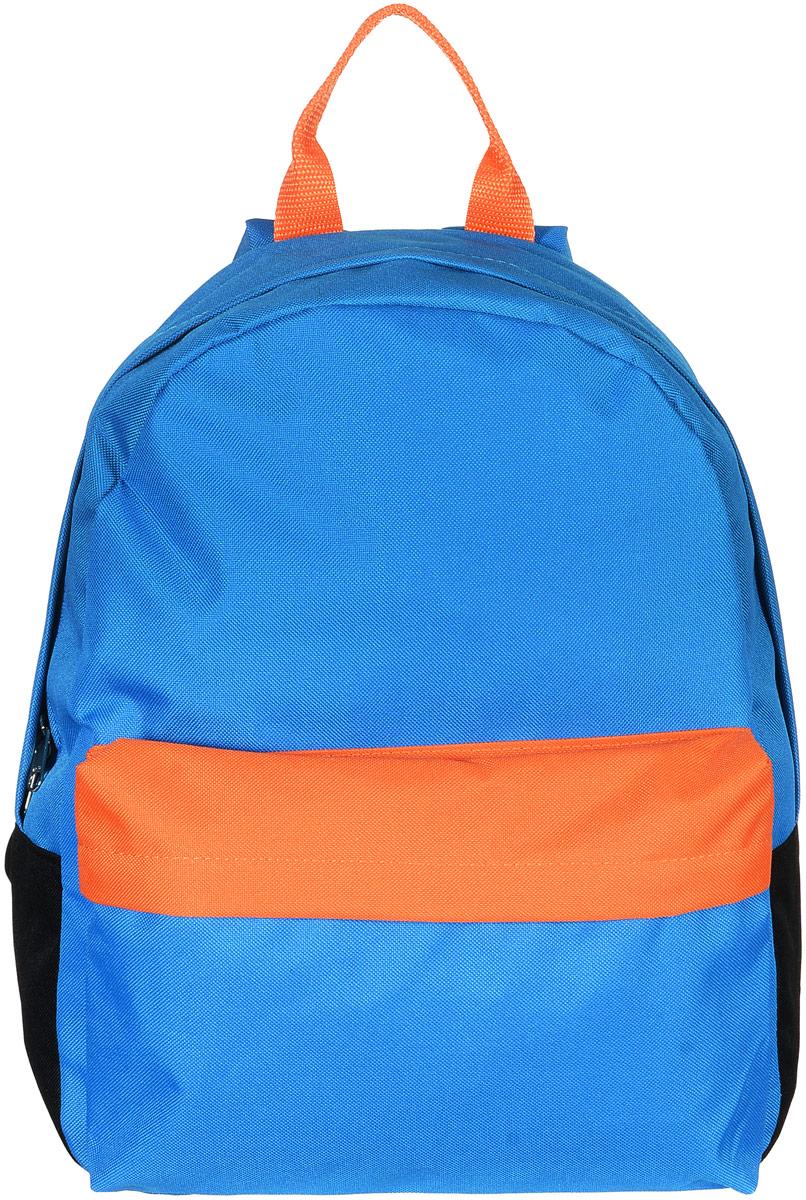 Рюкзак Аntan, цвет: голубой, черный, оранжевый. 6-73-47670-00504Яркий рюкзак Аntan выполнен из высококачественного полиэстера. На лицевой стороне расположен объемный накладной карман на молнии. Рюкзак оснащен удобными лямками, длина которых регулируется с помощью пряжек. Изделие закрывается с помощью застежки-молнии. Внутри расположено главное вместительное отделение, которое содержит отделение для ноутбука.